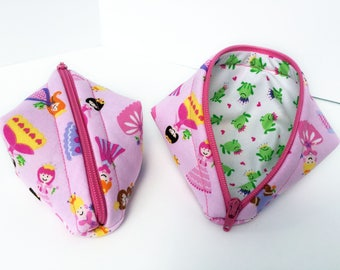 Zipper Bag - Sweet Pea Pod - Princesses - Frog Prince - Lazy Girl Designs - Sweet Pea Bag - Pea Pod Pouch - Zippered Pouch