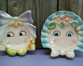 2 Adorable Vintage Mid Century Figural Baby Girl Footed Spoon Rest Tea Bag Holders KITCHENWARE Kitchen Decor