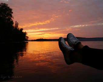 Hashtag cottage life sunset landscape photography print, shoe selfie, fine art photography, orange and pink sunset, relaxing, cute, fun