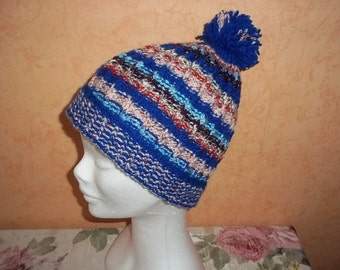 knitted blue striped hat for boys