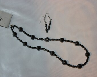 Glossy Black Jewelry Set