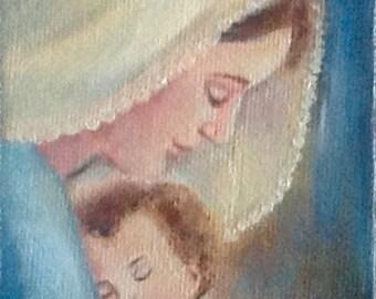 100% Handmade Mini Oil Painting, Madonna and Child,Virgin Mary,Baby Jesus,Catholic Painting,Religious Art, Saint Portrait,Small Painting,