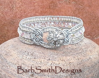 Crystal Silver White Beaded Leather Wrap Cuff Bracelet - The Knotty One in Ice Crystals