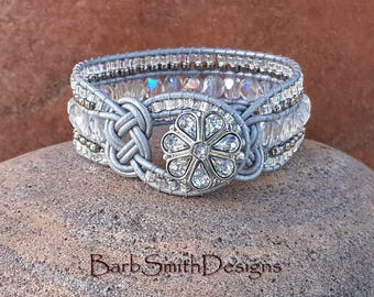 Silver Crystal Beaded Leather Wrap Cuff Bracelet - The Knotty One in Silver Mist - Custom size it!