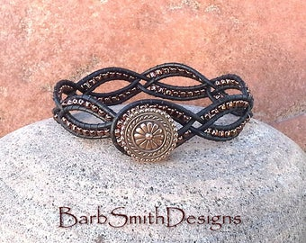 """ON SALE!  Black Copper Leather Weave Bracelet, Beaded Black Bracelet, Wrap Bracelet, Size 6 1/4"""", Dainty One in Black n' Copper"""