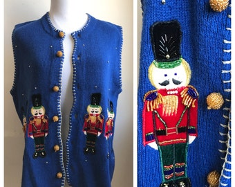 Vintage Ugly Christmas Sweater Vest | Nutcracker Soldiers Appliques | Electric Blue Holiday Sweater | Seasonal Vintage Hipster Sweater Vest