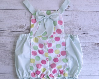 Apple Print Mint Green Overalls Baby Cute Baby Outfit Baby Overalls Clothing