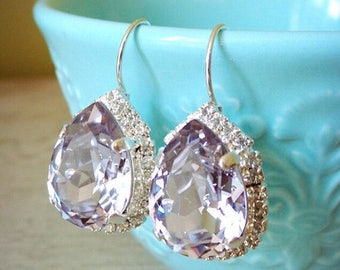 Swarovski Mauve, Purple Pear Shaped Earrings, Light Purple Earrings, Lavender Earrings, Swarovski Smokey Mauve, Bridesmaid Earrings