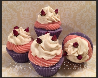 Sweetheart Roses Artisan Cold Process Cupcake Soaps-Vegan, Avocado Oil
