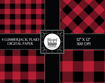 Red Buffalo Plaid Set 4 Digital Paper Backgrounds, Rustic Lumberjack Buffalo Check, Printable or Digital Paper, Instant Download #81