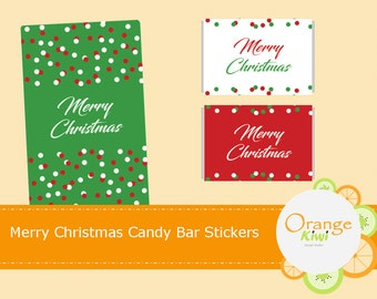 Merry Christmas Mini Candy Bar Labels, Holiday Candy Bar Wrappers, Christmas Party Favor Labels, Xmas Stickers
