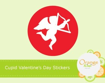 Cupid Valentine's Day Party Favor Cupcake Toppers, Valentine's Day Treat Bag Stickers, Valentine's Day Stickers, Hershey Kiss Candy Stickers