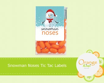 Snowman Noses Tic Tac Labels, Christmas Tic Tac Stickers, Snowman Noses, Christmas Party Favor Stickers