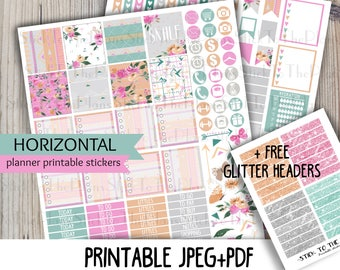 Horizontal Tribal Floral printable planner stickers for your Erin Condren Life Planner TM spring floral coral green gray aztec sticker kit