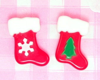 10% OFF SALE 6 x Christmas STOCKING Flat Back Cabochon Embellishments Kawaii Crafts Decoden