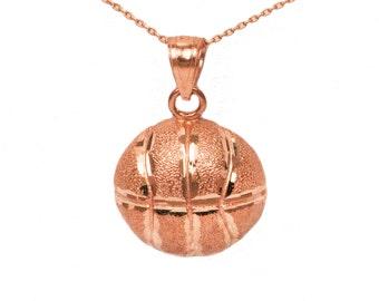 10k Rose Gold Basketball Necklace