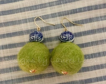 Chinoiserie Single Pom Pom Earrings | CHARTREUSE, green, blue and white, porcelain, Chinese, delft, gold, beaded, dangle, pompom, bonbon