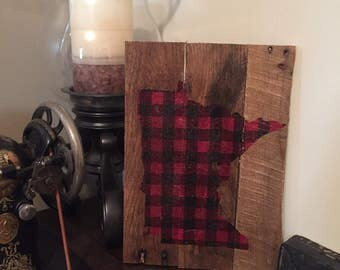 Buffalo Plaid Rustic State - Minnesota