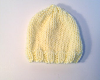 Yellow Knit Hat, Knit Baby Hat, Baby Shower Gift, Ready to ship