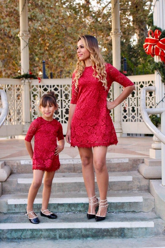 Red Lace Dressmommy And Me Matching Outfits Mother