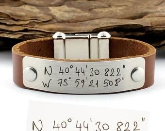 Actual Handwriting, Personalized Handwriting Bracelet, Coordinates Bracelet, Leather Cuff Bracelet, Custom Handwriting, Handwriting Jewelry