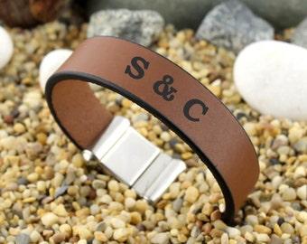 Personalized Initials Bracelet, Customized Bracelet, Letter Bracelet, Anniversary Gifts, Engraved Leather Bracelet, Cuff Bracelet, Gift Idea