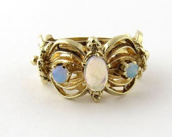 Vintage 14K Yellow Gold Opal Ring Size 6.5 #166