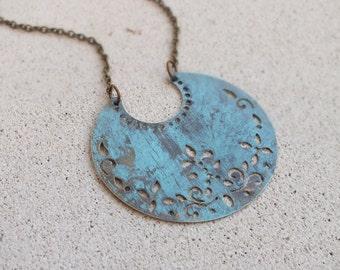 Brass Crescent pendant necklace Long Geometric Necklace layering necklace Bohemian statement piece