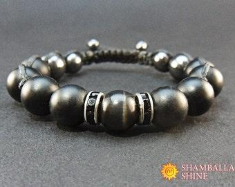 Clothing Gift Mens bracelet Black gemstone Black cat eye Shungite bracelet Shamballa bracelet Macrame bracelet Shungite bead  Raven bracelet