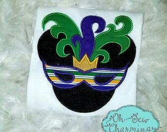 Mardi Gras Mask Mickey Applique Shirt