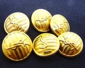 """Yves Saint Laurent Buttons, Authentic YSL Vintage,  YSL Logo, Very Rare Vintage, Gold Tone, Size 0,8"""" 2cm, Price for 1 Button"""