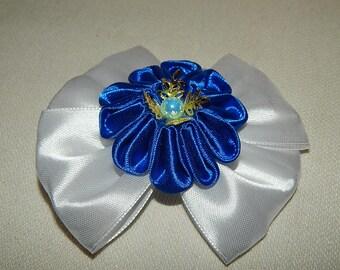 Kanzashi flower girls woman ladies hair bows clips. Blue Flower Hairclip.