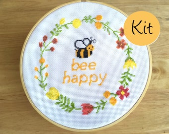 Modern Cross Stitch Kit - Funny Quote Pattern - Bee Happy - Counted Cross Stitch Design