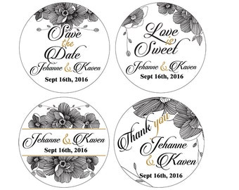 Set of Personalized Wedding Gift Package Names Thank You Save the Date love is sweet stickers black and white