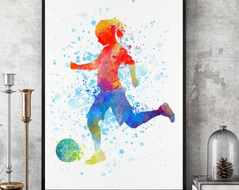Soccer Girl Print, Sports Decor, Soccer Team Gift, Soccer Mom, Watercolor Print, Birthday Gift, Girl Room Wall Art (N004)