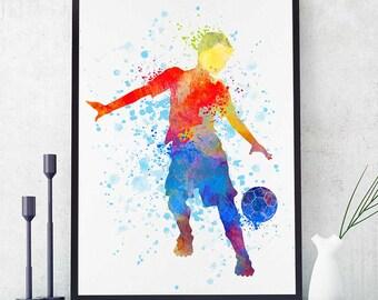 Soccer Kid Boy, Soccer Team Gift, Sports Print, Soccer Mom, Watercolor Print, Birthday Gift, Kids Room Decor (N006)