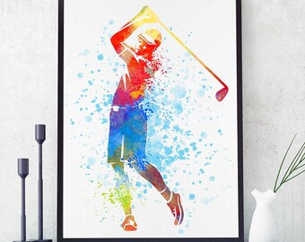 Golf Gifts Print, Golf Decor, Man Playing Golf, Gift For Golfers, Sports Decor, Home Decor, Wall Art (N039)