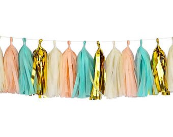 Peach + Mint + Ivory + Metallic Gold | Tassel Garland | Metallic Tissue Tassel Garland | FOLI + LO