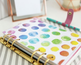 A5 Dashboard Bundle - Planner Printable Inserts - Watercolour Rainbow Quotes - Filofax A5 or  Kikki K Large Size