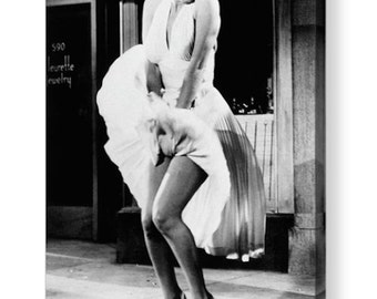 "Marilyn Monroe ""Flying Skirt"" Iconic Black & White Photo Canvas Box A4, A3, A2, A1"