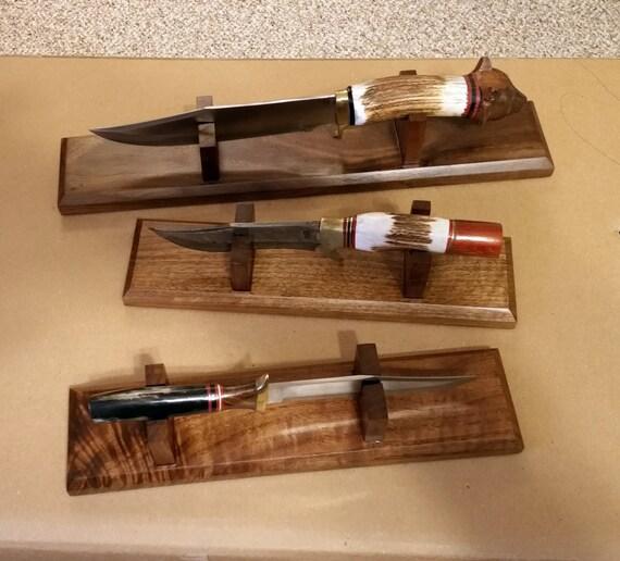 Custom hand made wood knife display stand to order