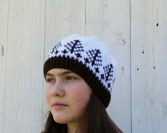 Winter Trees Handknit Hat - Fair Isle Hat - Scandinavian Hat - White and Brown Fair Isle Hat - Patterned Hat - Trees Hat - Womens Winter Hat