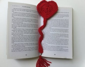 Bookmark, heart bookmark, Valentine's Day gift, Mother's Day gift, crochet handmade bookmark, Birthday gift