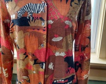 Vintage Sears Women's Blouse with Wild Animals!