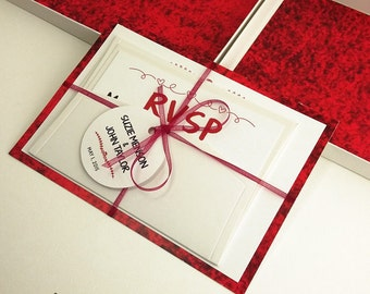 Red Color Boxed Wedding Invitations, Color Wedding Invitations, Couture Invitations, Box Wedding Invitations, Red Color, 1 INVITATION