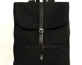 Backpack cotton design Leather Black eco handmade