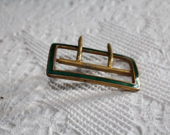 ART NOUVEAU -antique emaille belt lock, green