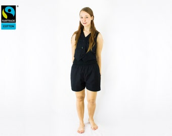 Fairtrade pants black bermuda shorts, short, fair vegan organic, faircloth, eco, short pants, handmade, made in Germany