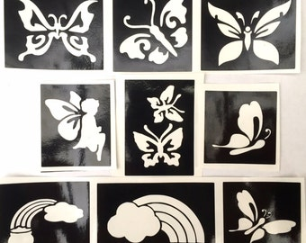 Glitter tattoo stencils butterflies and rainbows pack Professional quality 3 part stencil use fror glitter tattoos facepainting airbrush etc