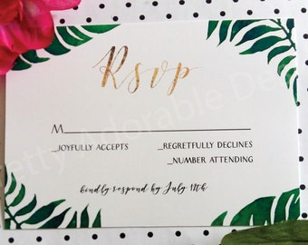 Printable Tropical Leaves Response Cards, Destination Wedding RSVP Card, Tropical RSVP Cards, Printable RSVP Cards, Destination Wedding Rsvp